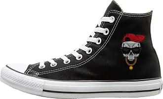 Juju Hip Hop Skull Unisex Sneakers High Canvas Shoes Black