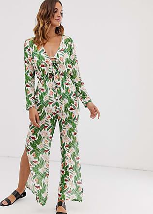 Unique21 Unique21 - Tuta jumpsuit allacciata sul davanti con stampa tropicale di fiori-Verde