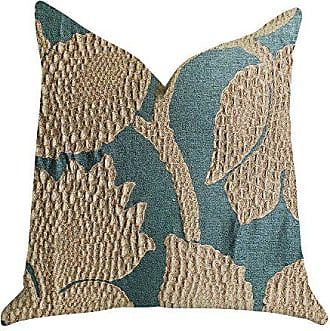 Plutus Brands Golden Arabella Vine Double Sided Queen Luxury Throw Pillow 20 x 30 Green/Gold