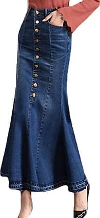 junkai Full Lengt Denim Skirt Mid-High Waistline Front Button Up High Waist Flared Distressed Fringe Fishtail Jeans Skirts Dark Blue EU M=Tag L