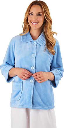 Slenderella Stitch Detail Fleece Bed Jacket - Blue Small