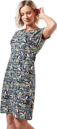 Weird Fish Tallahassee Patterned Cotton Jersey Dress Navy Size 10