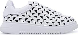 Emporio Armani All-Over Logo Sneakers, 9 White