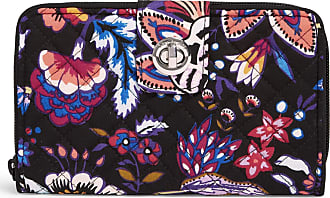Vera Bradley Womens Iconic RFID Turnlock Wallet, Signature Cotton Foxwood, One size