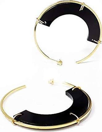 Tinna Jewelry Brinco Dourado Canoa Resina (Preto)