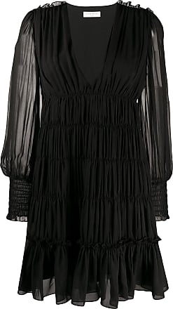 Sandro voile ruffled mini dress - Black