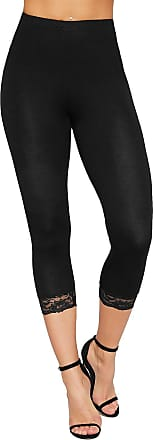 WearAll Womens 3/4 Stretch Leggings Lace Trim Cuffs Elasticated Plain Basic Pants - Black - 12-14