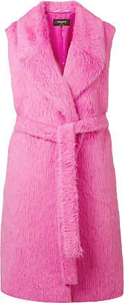 Rochas Casaco com pelos e amarração - Rosa
