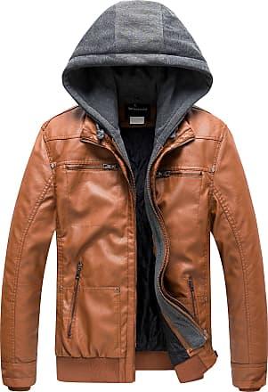 Wantdo Mens Faux Leather Jacket Detachable Hood Coat Yellow X-Large