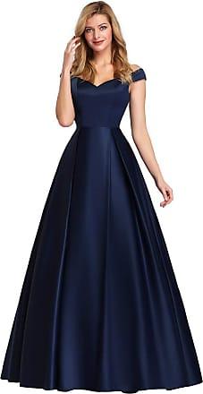 Ever-pretty Womens Off The Shoulder A Line Empire Waist Floor Length Long Satin Maxi Ball Evening Gowns Dresses Navy Blue 18UK
