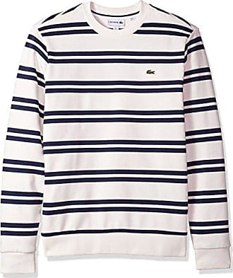 Lacoste Mens Non Brushed Fleece Striped Sweatshirt, Flour/Navy Blue, XXX-Large