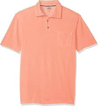 Izod Mens Saltwater Seaport Short Sleeve Solid Polo, Sour Orange, Medium