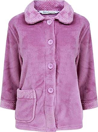 Slenderella Ladies 3/4 Sleeve XXX Large Soft Light Purple Soft Coral Fleece Button Up Bed Jacket Coat Size 28 30