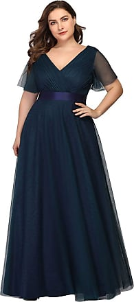 Ever-pretty Womens Elegant Double V Neck with Short Flutter Sleeve A Line Empire Waist Long Tulle Plus Size Evening Bridesmaid Dresses Navy Blue 26UK