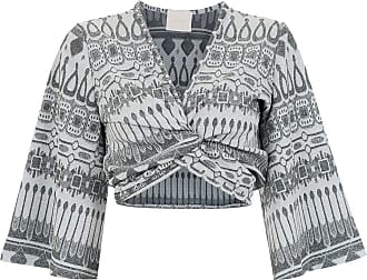 Framed Top cropped Gipsy Jacquard - Cinza