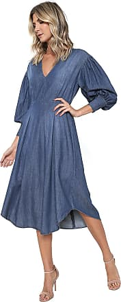 Colcci Vestido Jeans Colcci Midi Assimétrico Azul