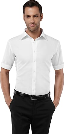 Vincenzo Boretti Mens Shirt Slim-fit Fitted Kent Collar Classic Design Plain Solid Colour 100% Cotton Non-Iron Short Sleeve Shirts for Men Formal Office Wedding Ideal
