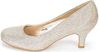 Dream Pairs Womens Slip On Low Kitten Heels Round Toe Pump Court Shoes Luvly Gold Size 7.5 US/ 5.5 UK