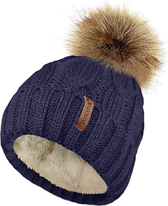 TOSKATOK Ladies Chunky Soft Cable Knit hat with Cosy Fleece Liner and Detachable Faux Fur Pompom-Navy