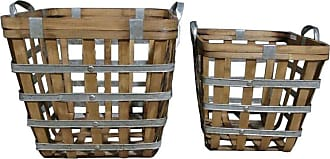 A & B Home Wooden Woven Decorative Baskets - Set of 2 - 43748