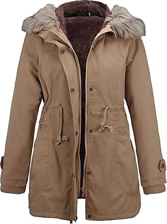VITryst Womens Long Sleeve with Pockets Thicken Faux Fur Trim Hood Zipper Drawstring Waist Short Down Jackets Jacket,Khaki,X-Small