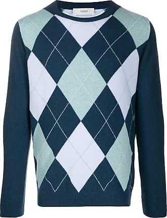 Pringle Of Scotland Suéter decote careca com padronagem de losangos - Azul