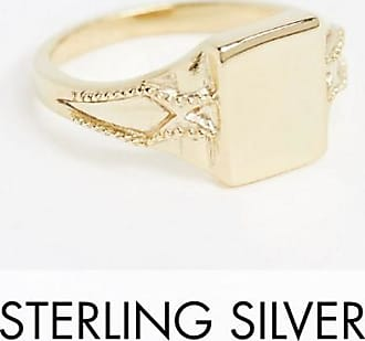 Reclaimed Vintage Reclaimed vintage Inspired signet ring in sterling silver with 14k gold plate