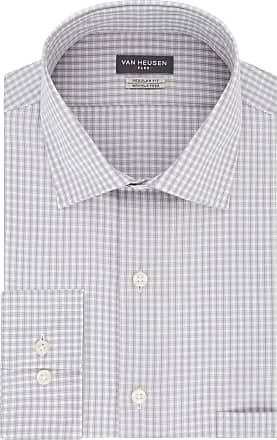 Van Heusen Mens Regular Fit Flex Collar Check Dress Shirt, Grey Pearl, 15.5 Neck 32-33 Sleeve