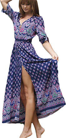 Yonglan Womens Boho V Neck Floral 3/4 Sleeve Side Slip Tie-Waist Long Sleeve Floral Maxi Long Dress Sapp Blue L