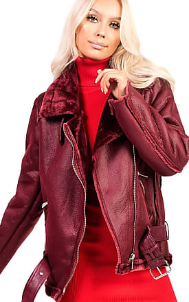 Ikrush Bea Overd Faux Shearing Jacket Wine UK L