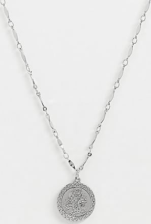 Reclaimed Vintage inspired dragon chain coin pendant necklace in silver