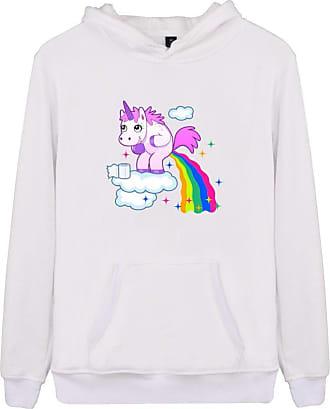 EUDOLAH Womens Hoodie Funny Cartoon Unicorn Print Sweatshirt Top (White Rainbow XL)