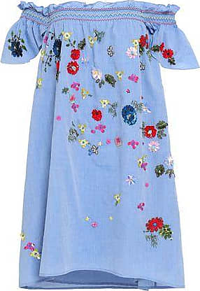 Joie Joie Woman Clarimonde Off-the-shoulder Embellished Cotton-chambray Mini Dress Light Blue Size XS