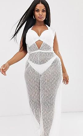 Asos Curve ASOS DESIGN Curve webbed lace jersey beach jumpsuit with plunge neck & tie waist-White