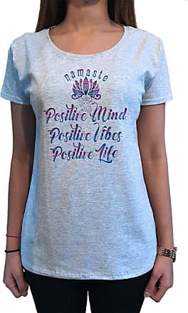 Irony Womens Top Positive Mind, Positive Vibes, Positive Life Namaste Ganesh TS1113 (Grey, XXLarge)