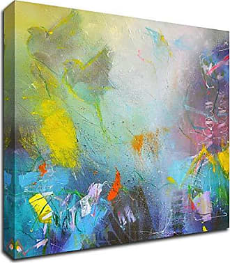 Tangletown Fine Art I Saw a New Heaven Canvas Art 16x16 Gray, Blue, Yellow