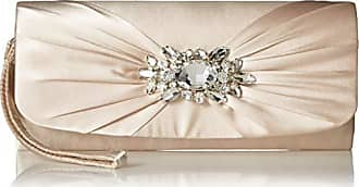 Jessica McClintock Womens Marian Wristlet with Rhinestone Broach, Champagne
