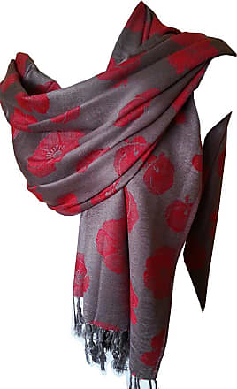 GlamLondon Poppy Pashmaina Scarf, Soft Warm Viscose Pashminas Poppies Flower Womens Shawl (Grey)