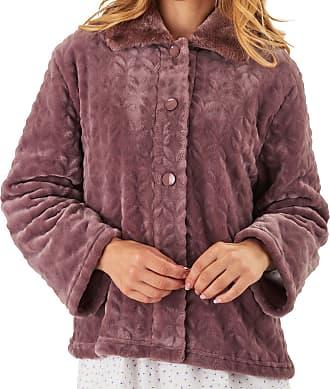 Slenderella Ladies Bed Jacket Faux Fur Collar Super Soft Fleece Button Up House Coat Medium (Taupe)