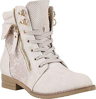 5445f37b9b48ab Stiefelparadies Damen Stiefeletten Schnürstiefeletten Worker Boots Zipper  Schuhe 142055 Creme Autol 38 Flandell