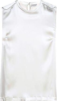 95974b59853cd Brunello Cucinelli Brunello Cucinelli Woman Bead-embellished Silk-blend Satin  Top Ivory Size 3XL