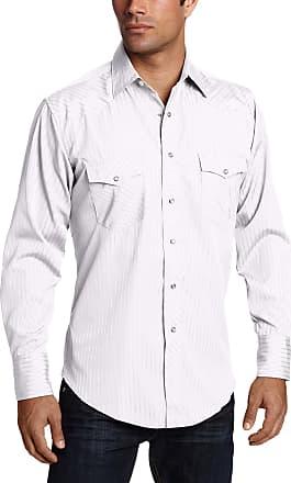 Wrangler Mens Sport Western Snap Shirt Dobby Stripe, White, 2X-Large