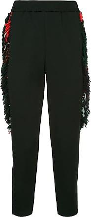 Yoshiokubo side fringe trousers - Black