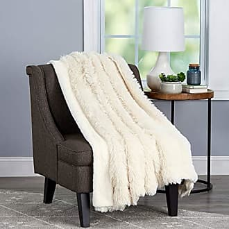 Trademark Lavish Home Collection Throw Luxurious, Soft Hypoallergenic Long Pile Faux Rabbit Fur Blanket with Sherpa Back for Couch, Bed, Decor, 60x70, White