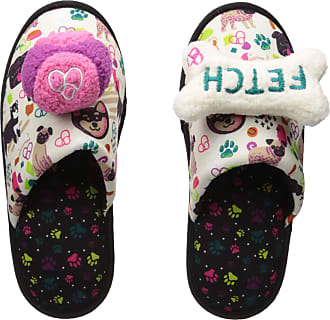 Dearfoams Womens Novelty Scuff with Detachable Bone Toys Slipper, Muslin, XL