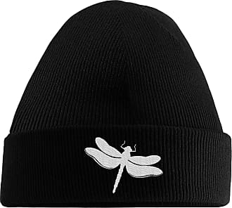 HippoWarehouse Dragonfly Embroidered Beanie Hat Black