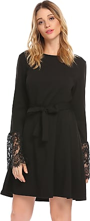 Zeagoo Women Floral Lace Back Hollow Out Flare Sleeve Vintage Cocktail Party Dress, M Black