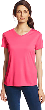 Hanes Sport Womens Cool DRI Performance V-Neck Tee,Wow Pink,Medium