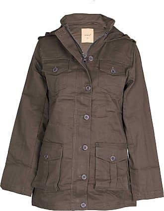 Noroze Womens Hooded Military Style Summer Coat Jacket (Khaki, L)