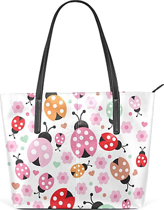 NaiiaN Shoulder Bags Leather Cartoon Ladybug Flowers Colorful Purse Shopping Light Weight Strap Tote Bag Handbags for Women Girls Ladies Student Vintage